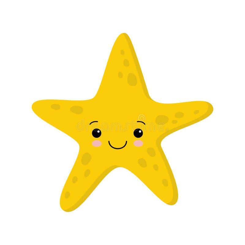 Illustration des étoiles de mer mignonnes de sourire Kawaii plat de style de vecteur illustration libre de droits