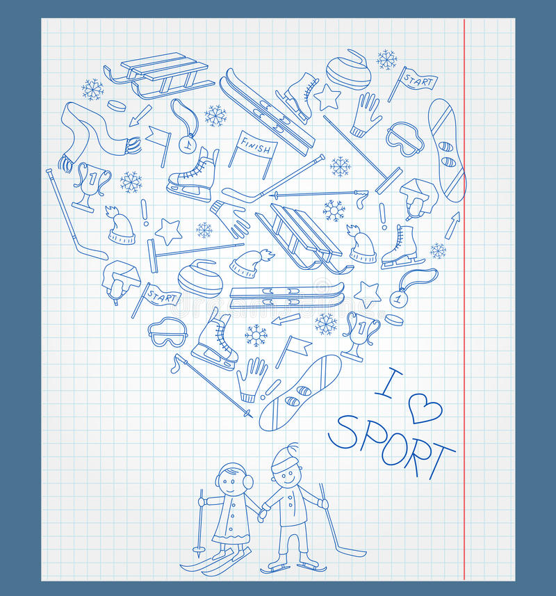 Illustration des Übungsbuches in einem Käfig mit Feldern und Federzeichnung auf dem Thema des Wintersports vektor abbildung