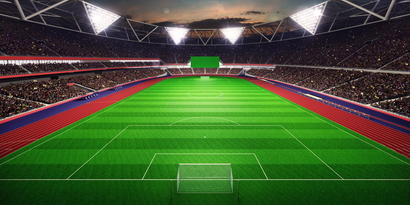 Illustration des Abendstadionsarena-Fußballplatzes 3D lizenzfreie abbildung