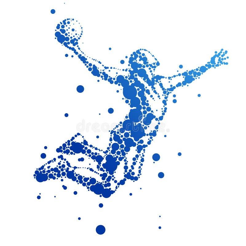 Illustration des abstrakten Basketball-Spielers im Sprung lizenzfreies stockbild