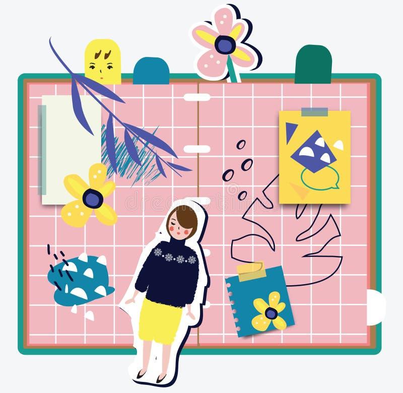 Illustration des abstrakten Begriffs mit den weiblichen und modischen Gestaltungselementen und den Aufklebern Rosa Hintergrund mi lizenzfreie abbildung