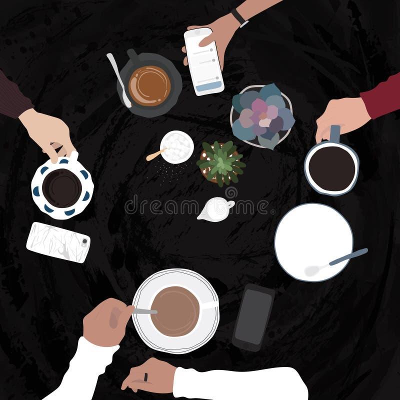 Illustration des amis ayant des boissons en café de café illustration libre de droits