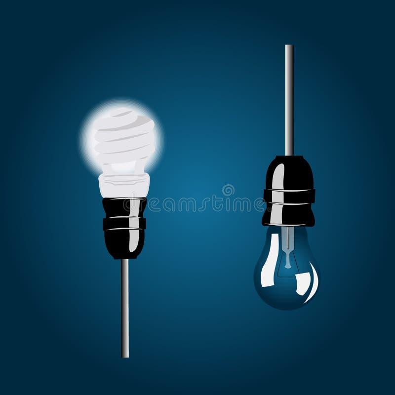 Illustration des ampoules économiseuses d'énergie et incandescentes dans les cartouches noires avec des fils situés l'un à côté d illustration libre de droits