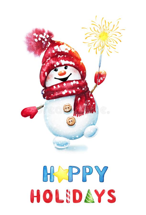 Illustration des Aquarell-neuen Jahres eines netten frohen Schneemannes im roten Hut und im Schal mit heller Wunderkerze Bengals  lizenzfreie abbildung