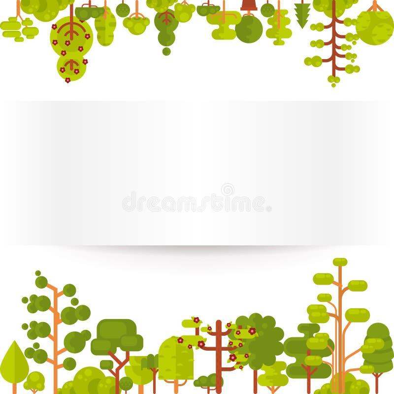 Download Illustration Des Arbres Et Des Buissons Verts Sur Un Fond Blanc Dans Le Style Plat Illustration de Vecteur - Illustration du horizontal, illustration: 76080915