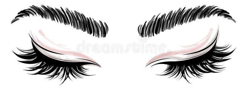 Illustration des Augenmakes-up und -braue auf weißem Hintergrund lizenzfreie abbildung