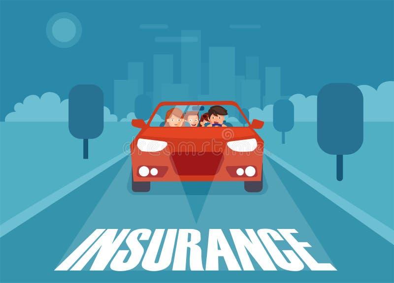 Illustration des Autos herein mit Versicherung lizenzfreie abbildung