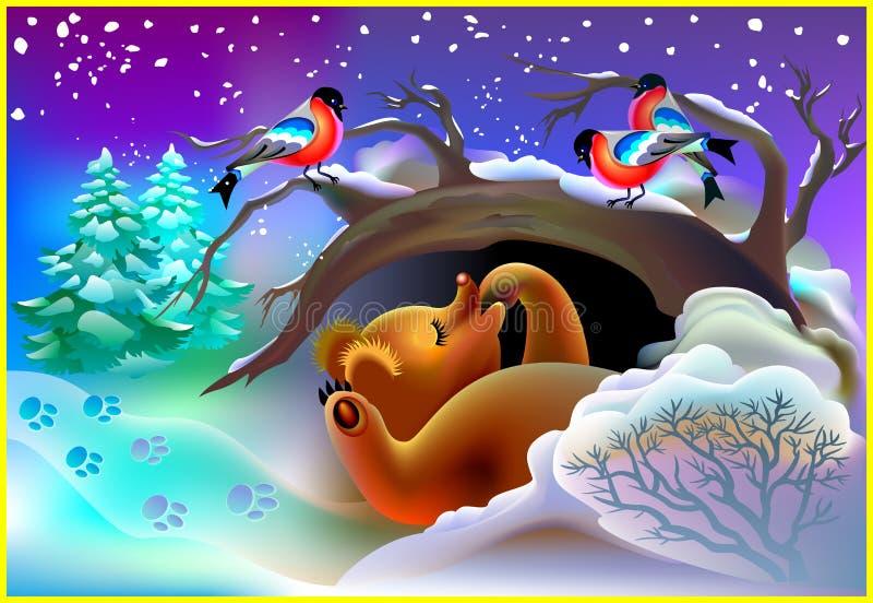 Illustration des Bären schlafend in einer Höhle während des Winters lizenzfreie abbildung