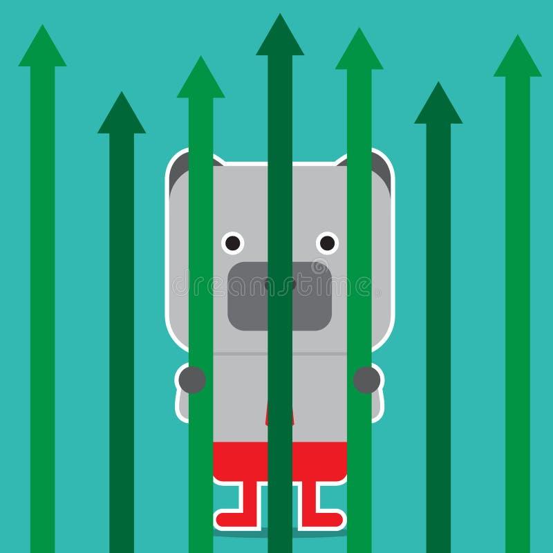 Illustration des Bärnsymbols der Börsetendenz stockbilder