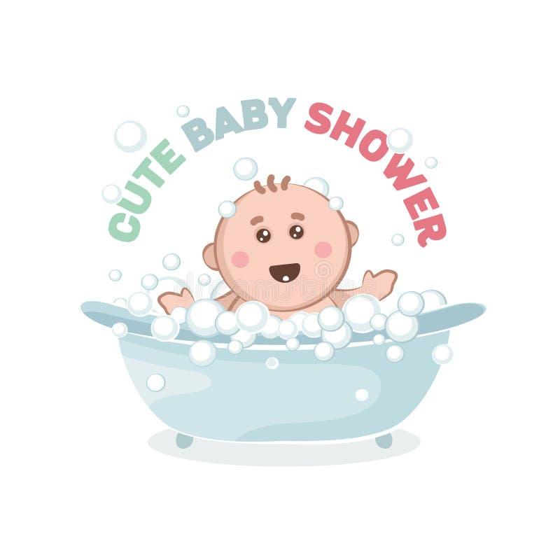 Illustration des Babys in einem Bad mit Blasen stock abbildung