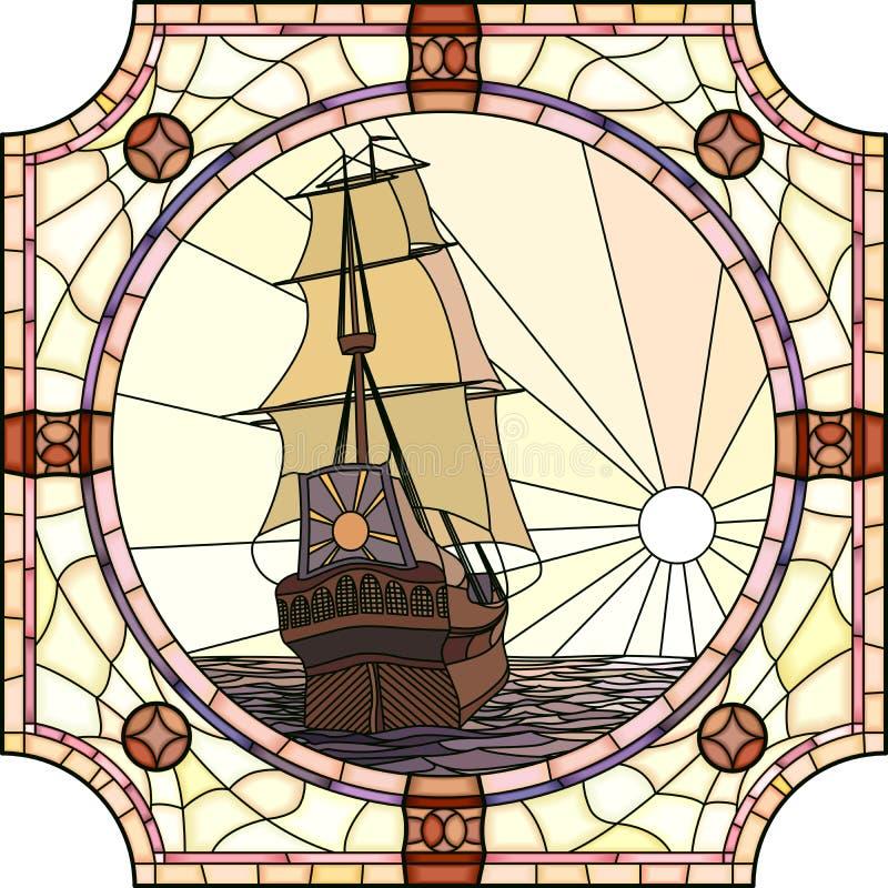 Illustration des bateaux de navigation du XVIIème siècle au coucher du soleil. illustration stock