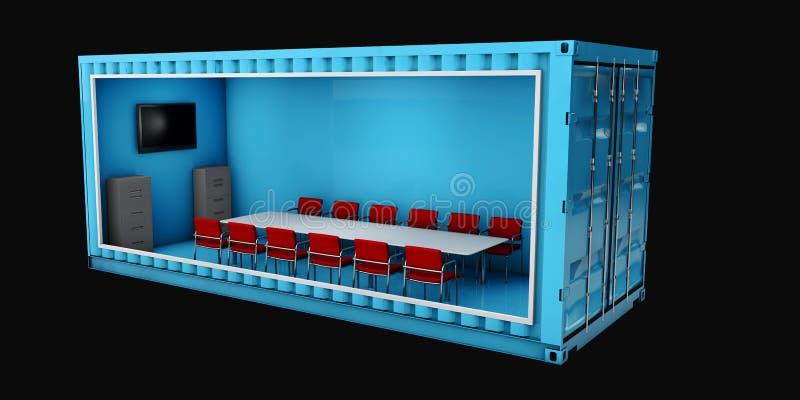Illustration des Behälter-Büros Wiederverwendung für das Errichten stock abbildung