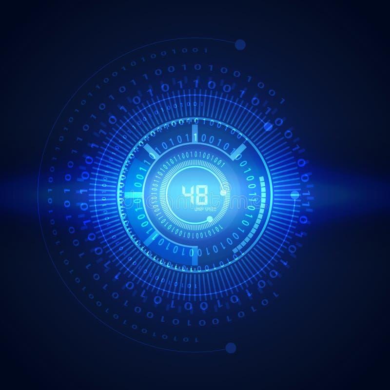 Illustration des binär Code auf abstraktem Technologiehintergrund stock abbildung