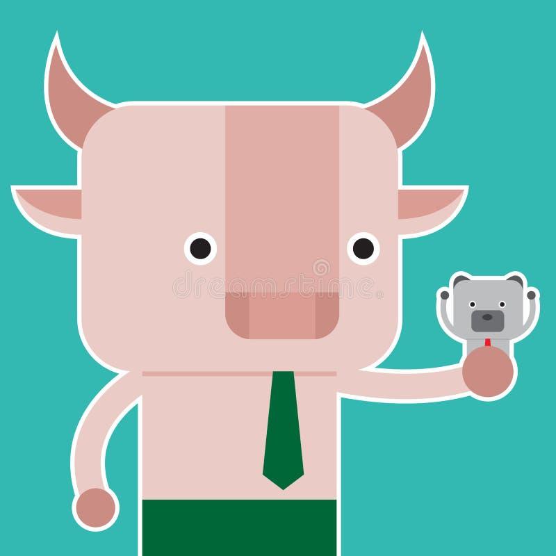 Illustration des Bulle und Bär-Symbols der Börsetendenz stockfoto