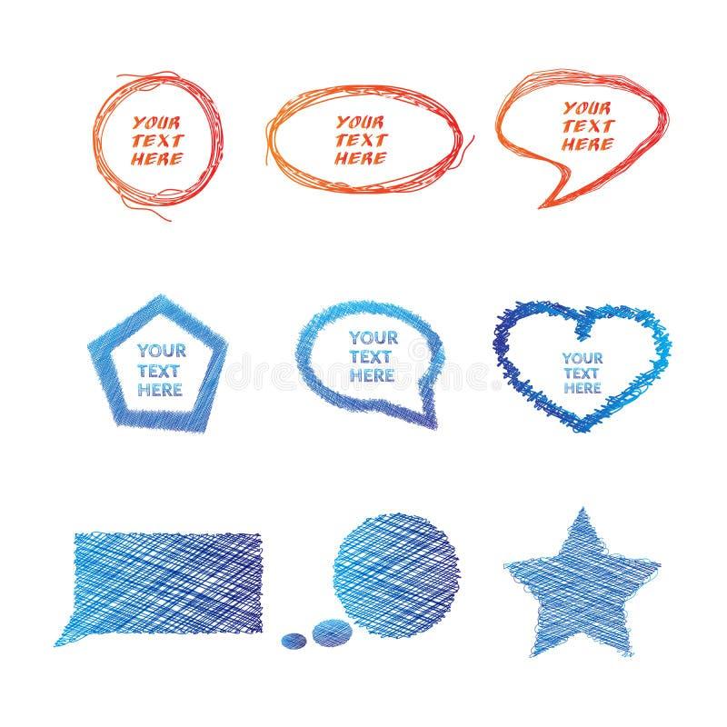 Illustration des bulles tirées par la main colorées illustration libre de droits