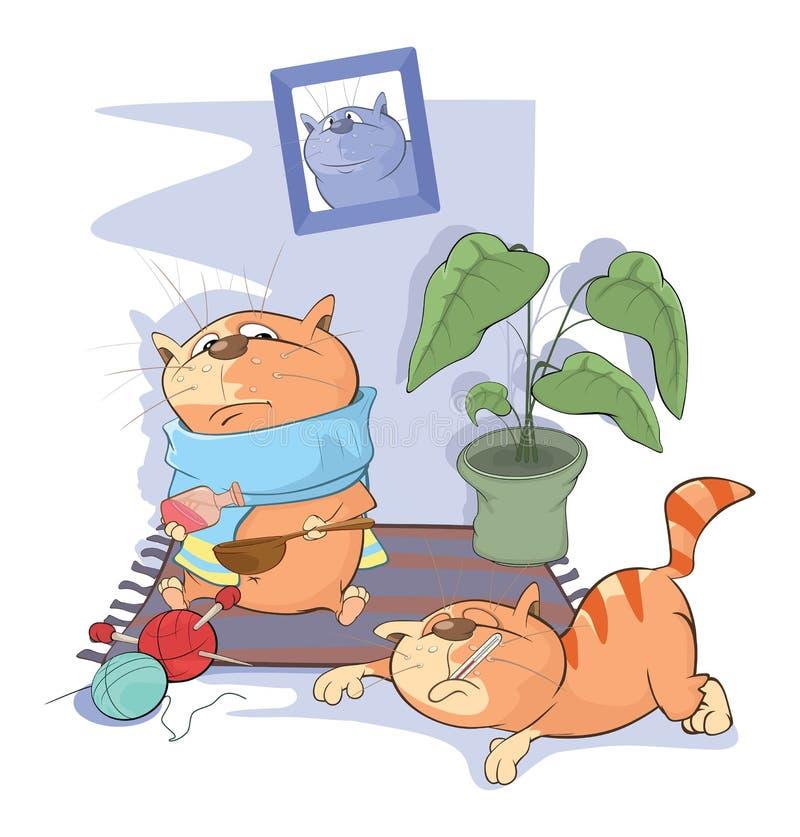 Illustration des chats malades illustration stock