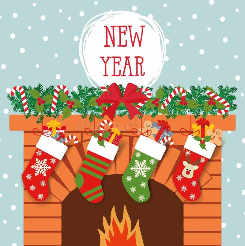 Illustration des chaussettes de Noël avec des cadeaux sur le fond de la cheminée illustration stock