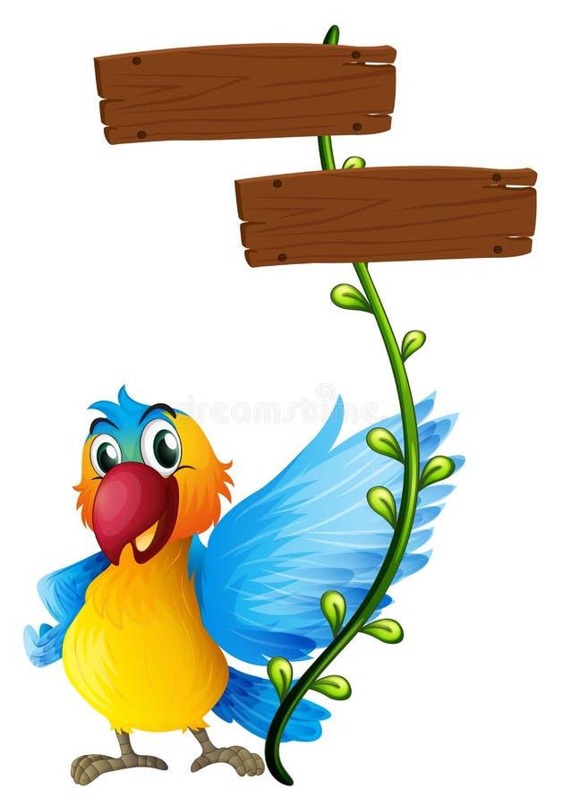 Conseils vides avec un perroquet coloré illustration de vecteur