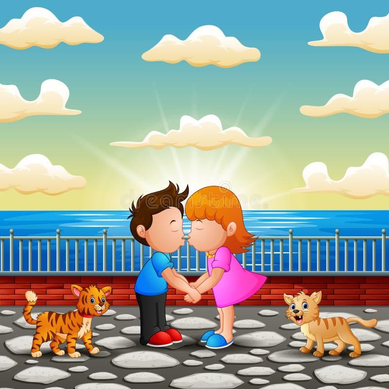 Illustration des couples embrassant sur le pont illustration libre de droits
