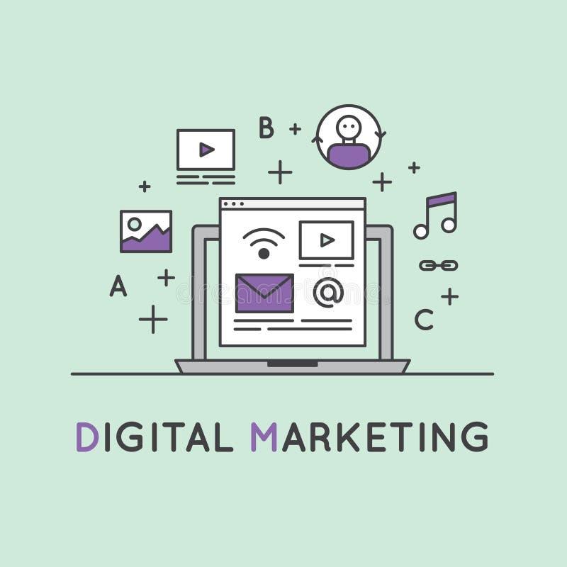 Illustration des Digital-Marketing-Konzeptes lizenzfreie abbildung