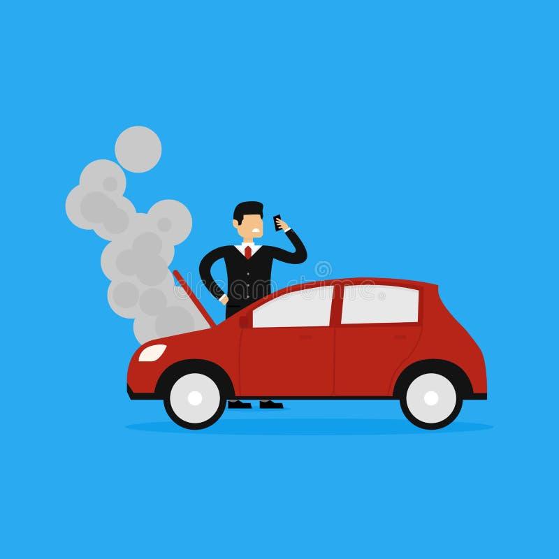 Illustration des dommages de voiture de Calling Insurance Company d'homme d'affaires illustration libre de droits