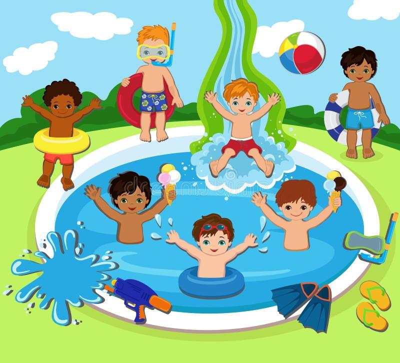 Illustration des enfants ayant une réception au bord de la piscine illustration de vecteur