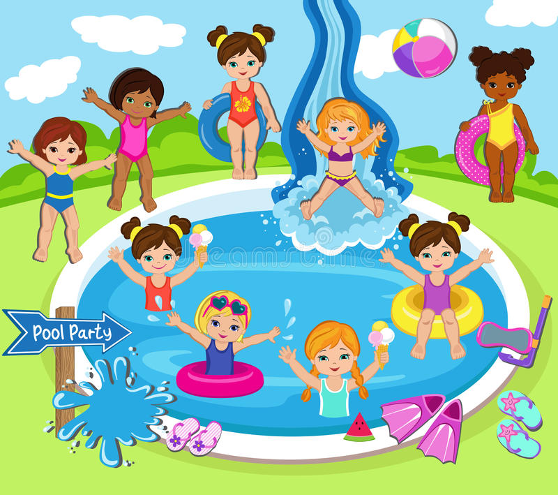 Illustration des enfants ayant une réception au bord de la piscine illustration stock