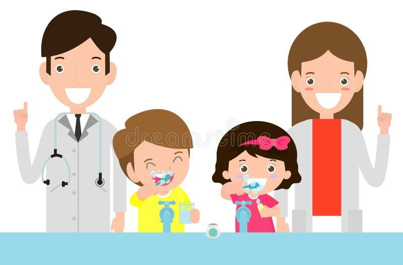 Illustration des enfants balayant une dent, un docteur et des enfants La position de docteur ainsi que des enfants prennent soin  illustration libre de droits
