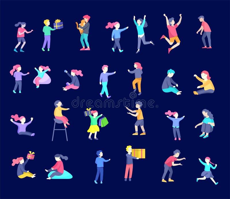 Illustration des enfants jouant et faisant illustration libre de droits