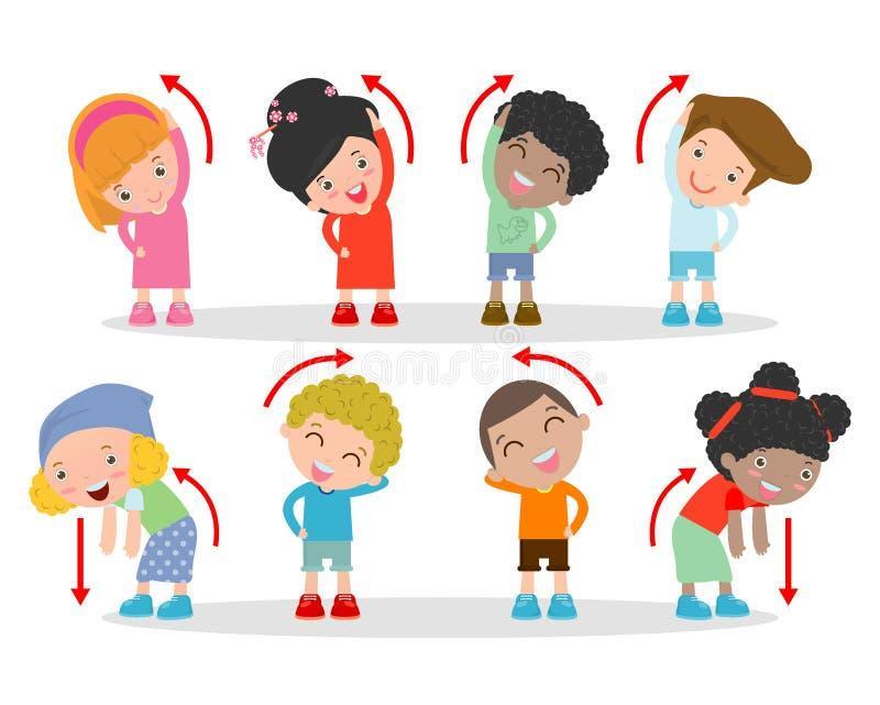 Illustration des enfants s'exerçant, enfants s'exerçant, enfant s'exerçant, enfants heureux s'exerçant, illustration de vecteur illustration stock