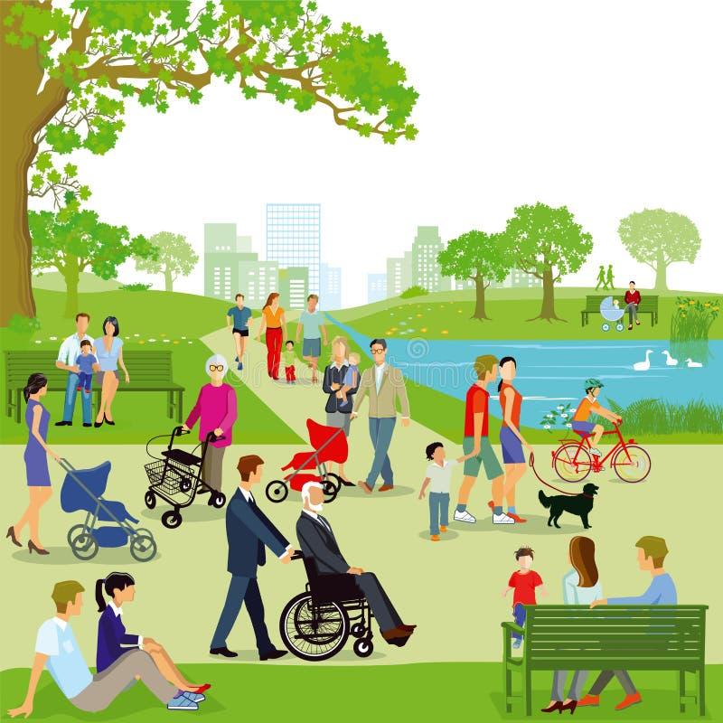 Illustration des familles en parc illustration de vecteur