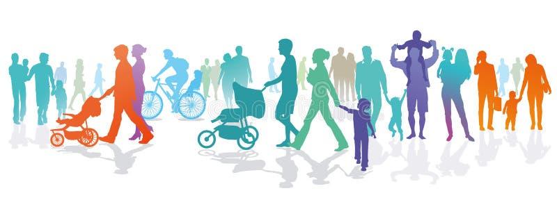 Illustration des familles et des personnes dehors illustration stock
