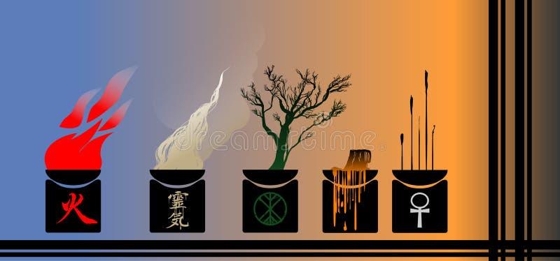 Illustration des Feuers, des Rauches, des Holzes und der Kerzen lizenzfreie stockfotografie