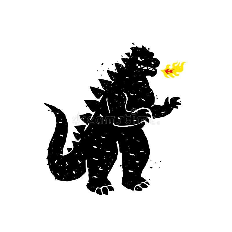 Illustration des Feuerspuckens, Drache, Dinosaurier Auch im corel abgehobenen Betrag Ein Held für einen Standort, eine Fahne oder vektor abbildung
