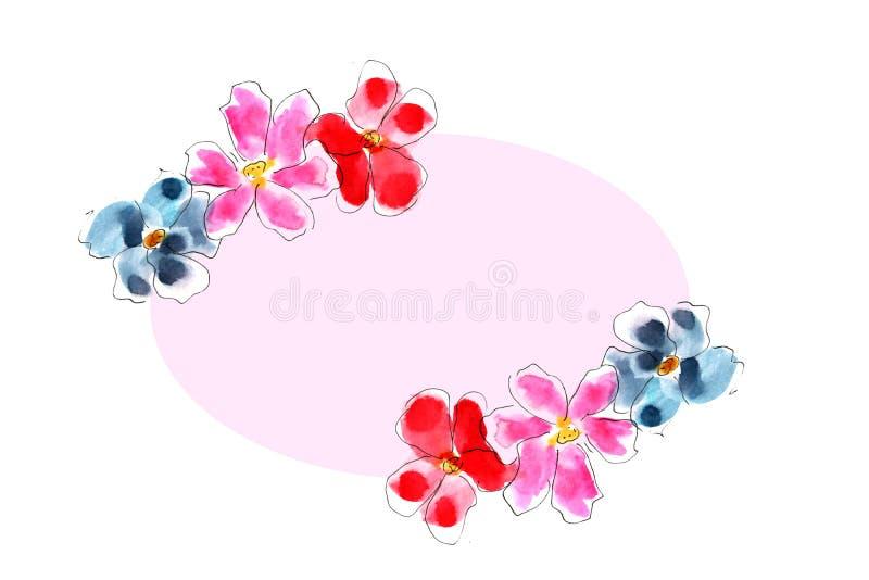 Illustration des fleurs d'aquarelle illustration libre de droits