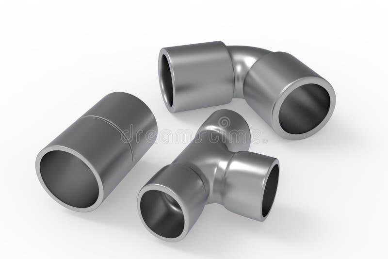 Illustration des garnitures 3D de Chrome illustration stock