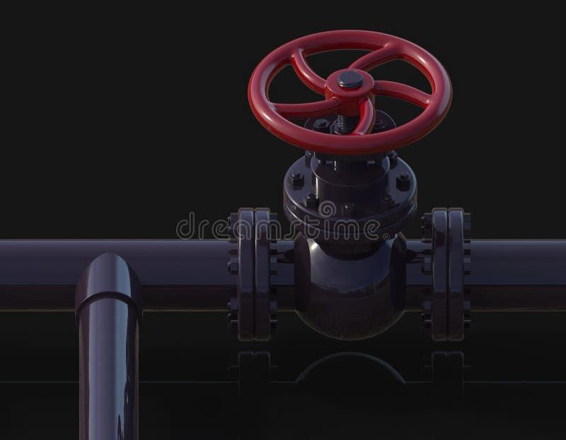 Illustration des Gasrohr-Ventils 3D vektor abbildung
