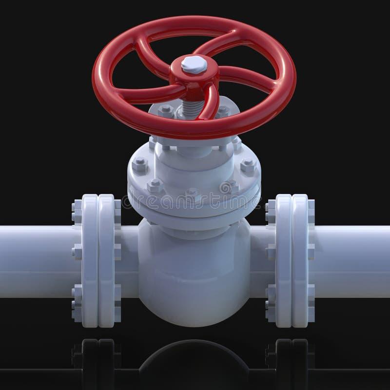 Illustration des Gasrohr-Ventils 3D stock abbildung