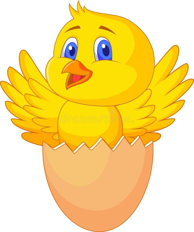 Gebrochenes Ei mit nettem Vogel nach innen lizenzfreie abbildung