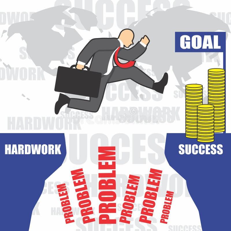 Illustration des Geschäftsmannes geht zum Erfolg wegen des hardwork lizenzfreie stockfotografie