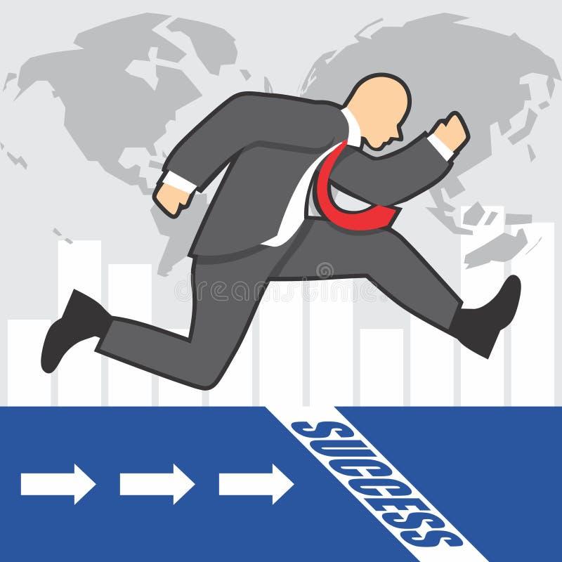 Illustration des Geschäftsmannes geht zum Erfolg wegen des hardwork lizenzfreie stockbilder