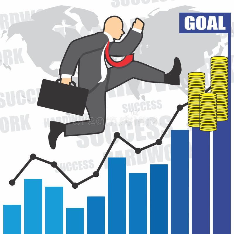 Illustration des Geschäftsmannes geht zum Erfolg wegen des hardwork stockfotografie