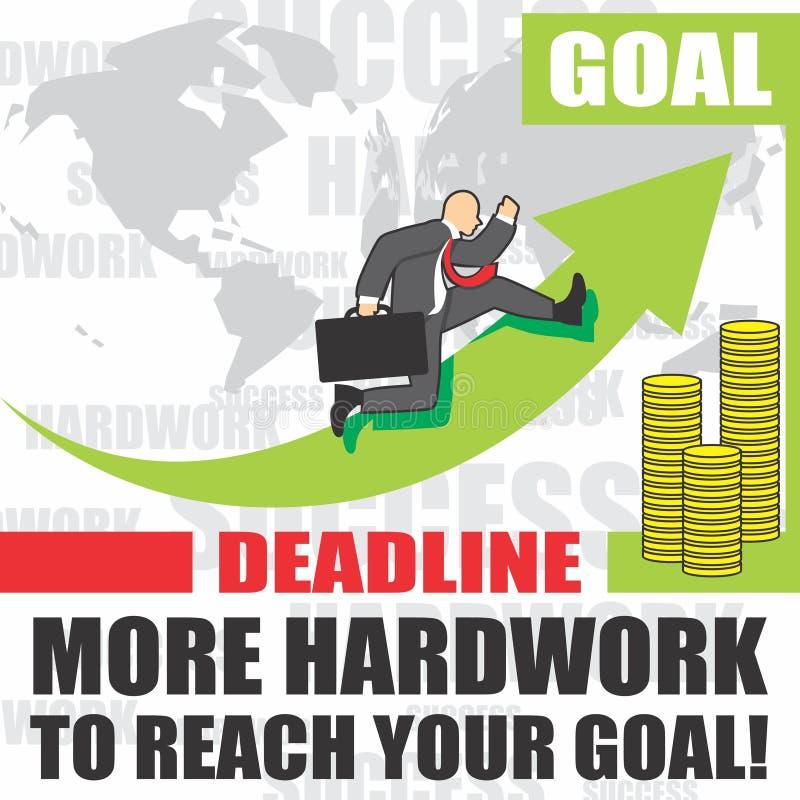 Illustration des Geschäftsmannes geht zum Erfolg wegen des hardwork lizenzfreies stockfoto