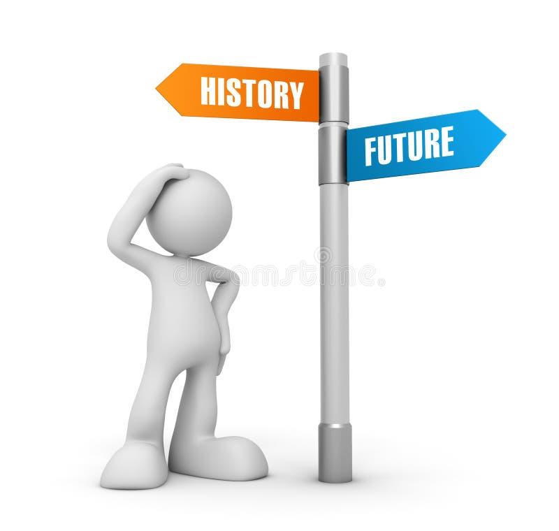 Illustration des Geschichtszukünftige Konzeptes 3d lizenzfreie abbildung