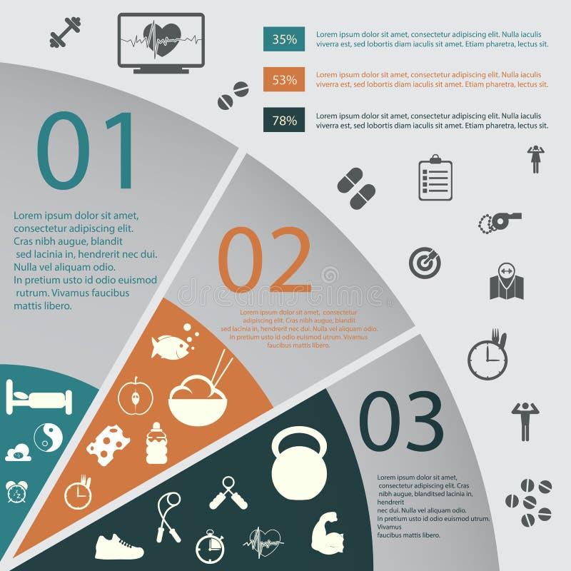 Illustration des Gesundheitslebensstils infographic in der Ebene entworfen vektor abbildung
