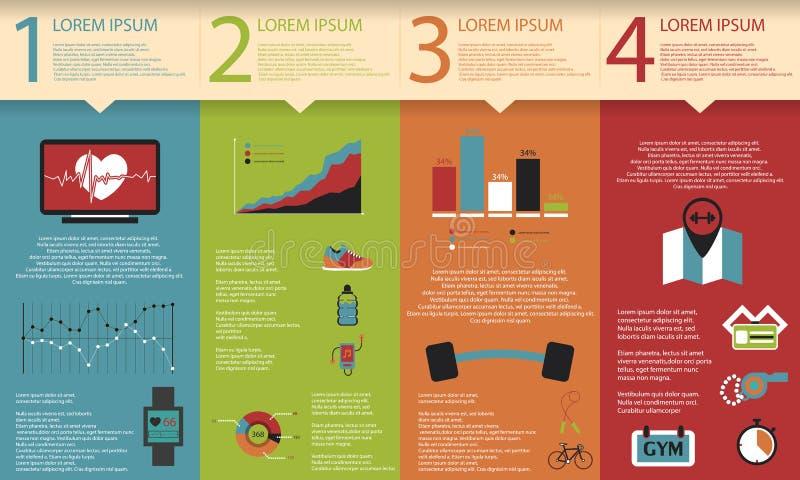 Illustration des Gesundheitslebensstils infographic in der Ebene entworfen stock abbildung