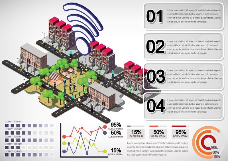Illustration des grafischen städtischen Stadtkonzeptes der Informationen lizenzfreie abbildung