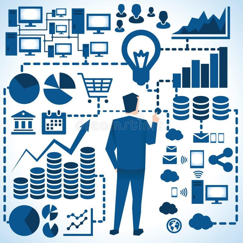Illustration des graphiques de Surrounded By Business d'homme d'affaires illustration stock