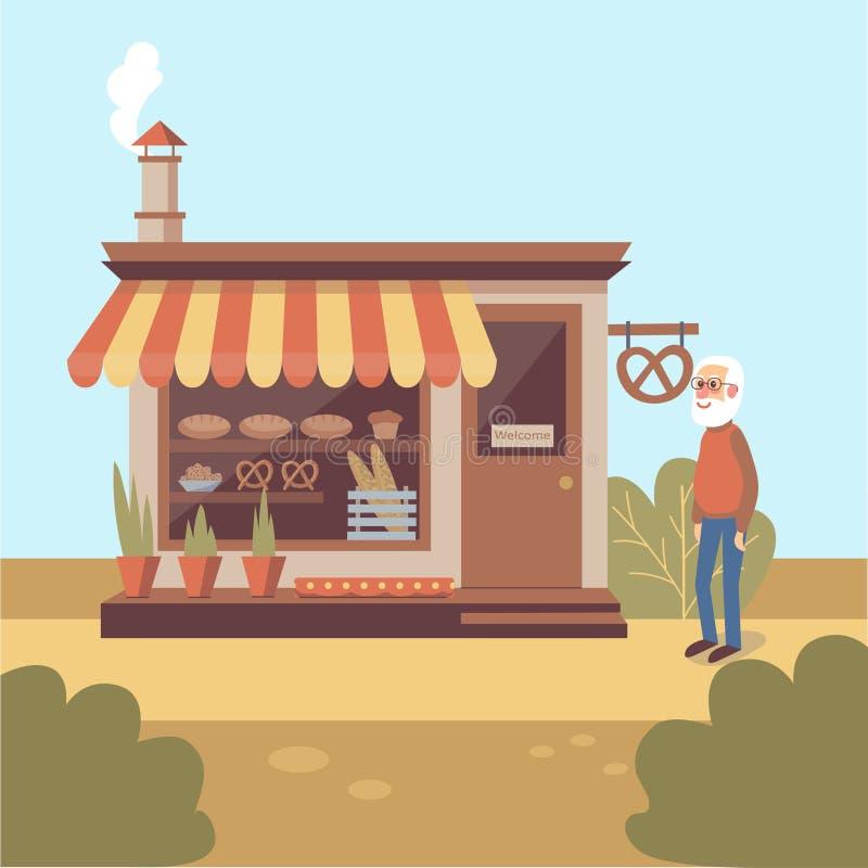 Illustration des grau-bärtigen alten Mannes, der nahes Bäckereigeschäftsgebäude steht lizenzfreie abbildung