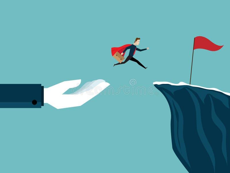 Illustration des große Handhilfsgeschäftsmannes springen zur roten Fahne am Cl lizenzfreie abbildung